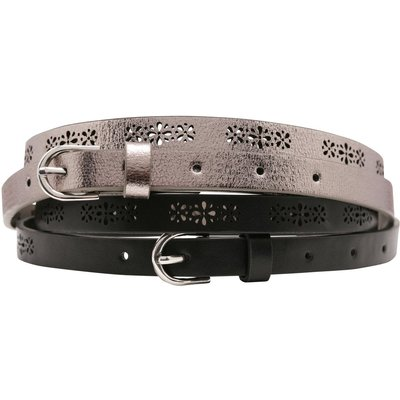 Ladies flower laser cut pattern belts pack of two metallic and black  - Multicolour