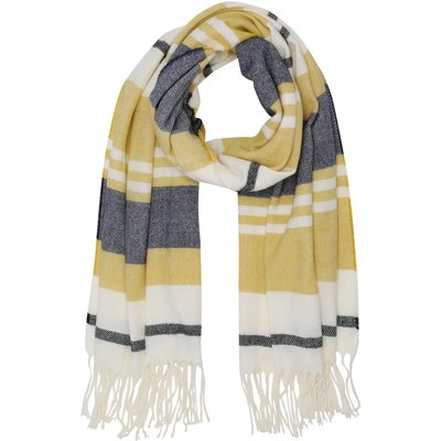 Ladies striped warm large blanket scarf with fringes 214 x 65cm  - Straw