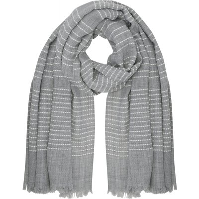 Ladies Stitch Stripe Detail Fringed Edge Everyday Smart Casual Blanket scarf  - Grey