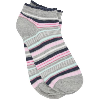 Ladies cotton rich Multi Coloured Stripe Pattern everyday Low Cut Trainer Socks  - Multicolour