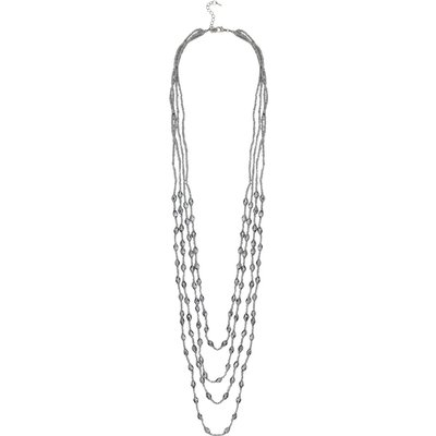 Ladies Beaded Long Multi Layer Necklace  - Silver
