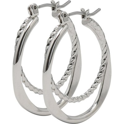 Ladies Silver Tone Double Hoop Smooth and textured Design bar and clip fastening Earrings  - Silver