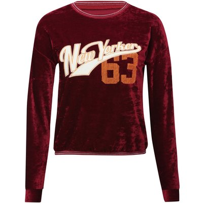 Teen girl burgundy long sleeve metallic stripe rib trimmed New Yorker 63 applique design sweater  -