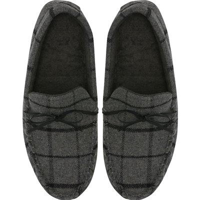 Mens Smart Grey Checked Fabric Terry Lined Moccasin Style slip on cosy Slippers  - Grey