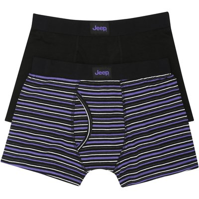 Jeep mens purple stripe black cotton stretch jersey fitted keyhole fly trunks two pack  - Purple