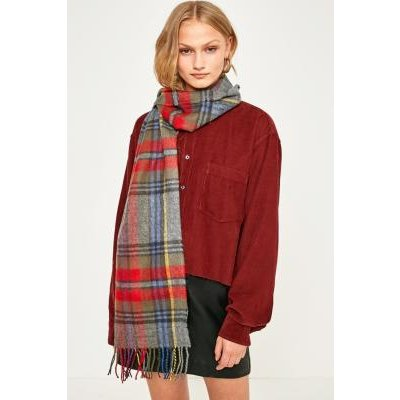 Wide Checked Scarf, BLUE