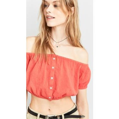 Pins & Needles Bubble Crop Top, RED