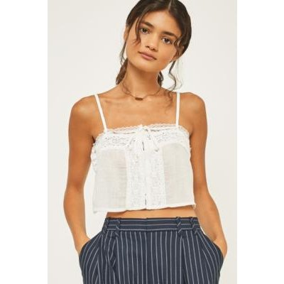 Pins & Needles Embroidered Crop Cami, WHITE