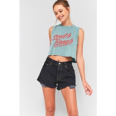 Urban Outfitters South Beach Cropped Tank Top, BLUE