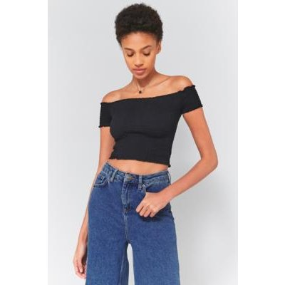 Pins & Needles Bardot Smocked Off-The-Shoulder Top, BLACK