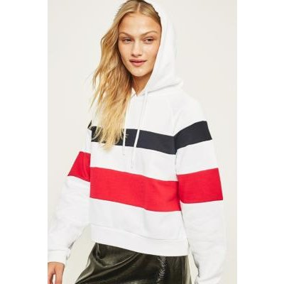 BDG Double Striped Hoodie, WHITE