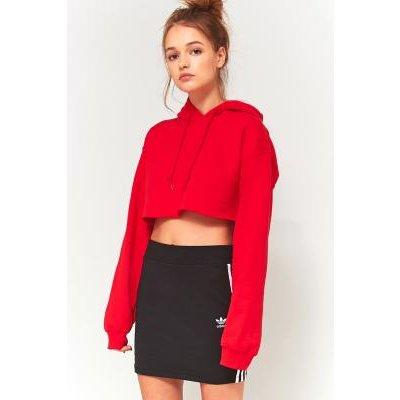 BDG Super Cropped Long Sleeve Hoodie, RED