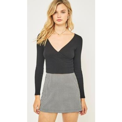 Urban Outfitters Ballet Wrap Crop Top, BLACK