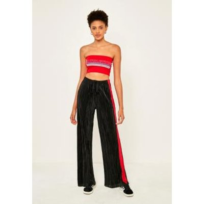 Light Before Dark Puddle Length Side-Striped Plisse Trousers, BLACK