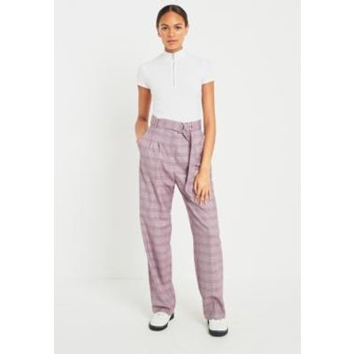 Light Before Dark Checked Purple Puddle Trousers, PURPLE