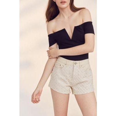 BDG Girlfriend High-Rise Pearl Denim Shorts, BLACK