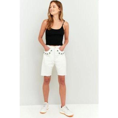 Lupe Kaya Denim Shorts, WHITE