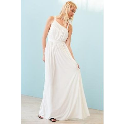Kimchi Blue Coralina Cupro Asymmetrical Maxi Dress, WHITE
