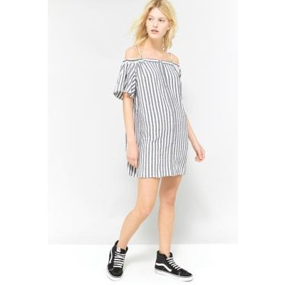 Urban Outfitters Striped Button-Through Cold Shoulder Dress, BLUE