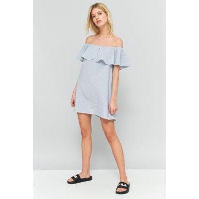 Urban Outfitters Seersucker Ruffle Off-The-Shoulder Dress, BLUE