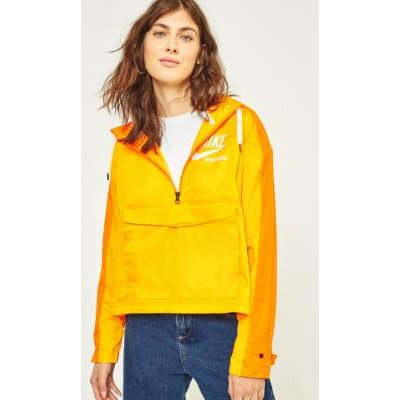 Nike Archive Yellow Half-Zip Cropped Popover, Sun Yellow