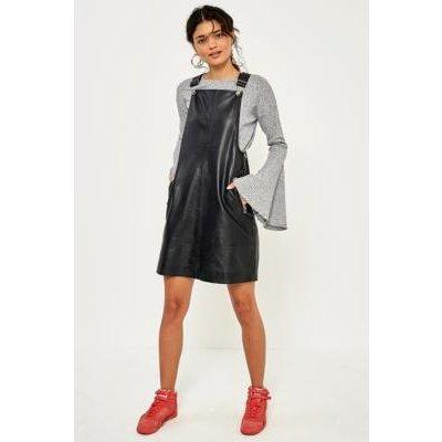 Gestuz Angelina Leather Pinafore Dress, BLACK