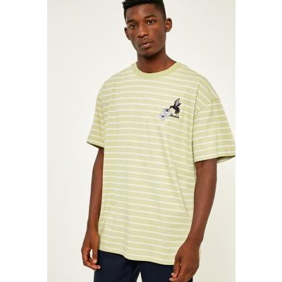 UO Embroidered Stripe Green Dad T-shirt, LIME
