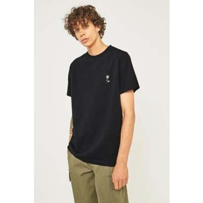 UO Black Rose Embroidery T-shirt, BLACK