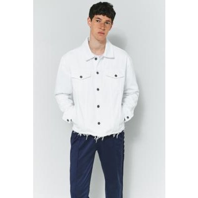 Loom Hooper White Raw Hem Denim Trucker Jacket, WHITE