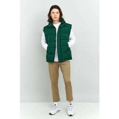Shore Leave Sleeveless Green Zip Puffer Jacket, GREEN