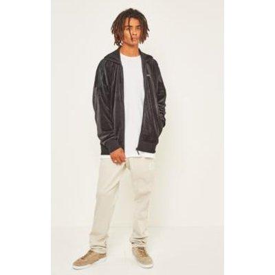 adidas Originals CLR84 Black Velour Track Top, BLACK