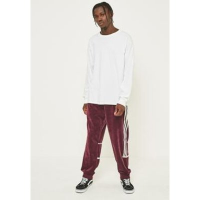 adidas Challenger Maroon Velour Track Pants, MAROON