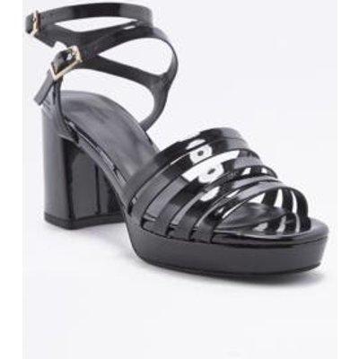 Kim Strappy Black Heeled Platform Sandals, BLACK