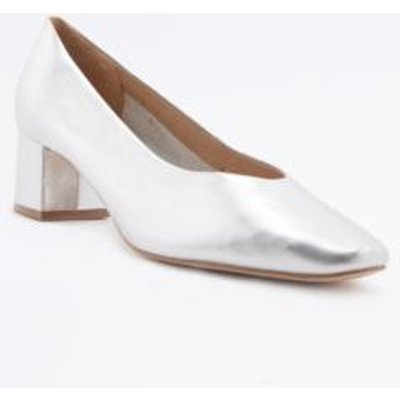 Lana Silver Square Toe Heeled Pumps, SILVER