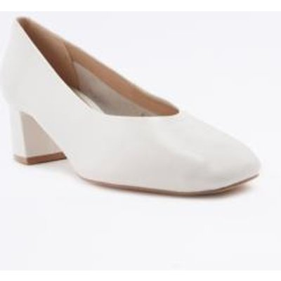 Lana Off-White Square Toe Heeled Pumps, IVORY