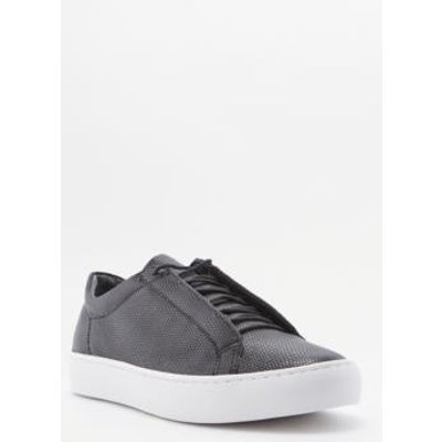 Vagabond Zoe Black Embossed Leather Lace-Up Trainers, BLACK