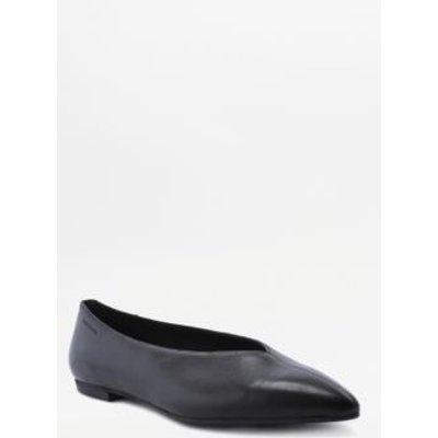 Vagabond Kaitlin Black Leather Flat Shoes, BLACK