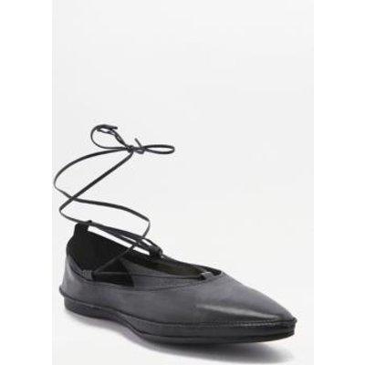 Vagabond Antonia Black Leather Ankle Wrap Flats, BLACK