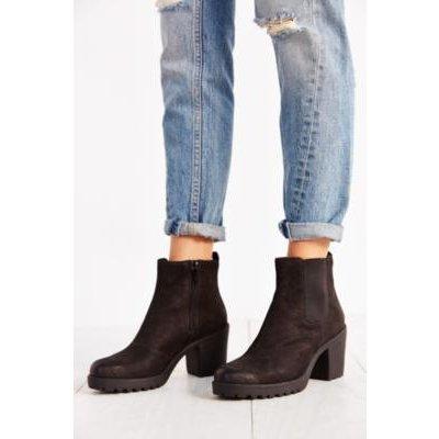 Vagabond Grace Black Nubuck Chelsea Ankle Boots, BLACK
