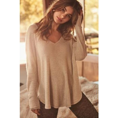 Out From Under Oversized Cosy Thermal V-Neck Top, IVORY