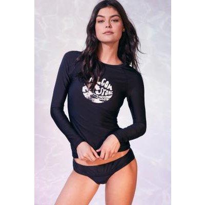 Volcom Simply Solid Long-Sleeve Swim Top, BLACK