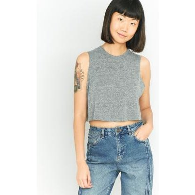 Urban Outfitters Pocket Cropped Tank Top, GREY