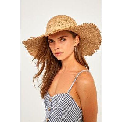 Wide Brim Straw Hat, BROWN