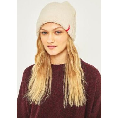 Reason Exaggerated Fleece Side Tab Beanie, CREAM