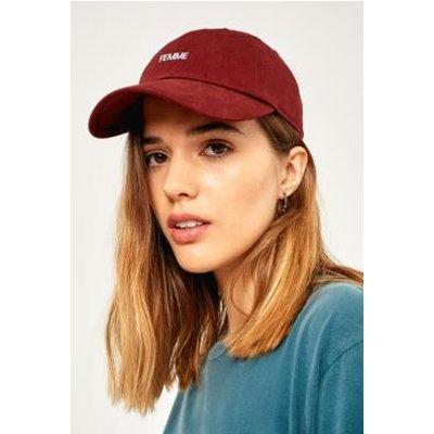 Embroidered Femme Baseball Hat, MAROON
