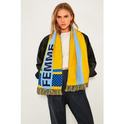 Femme Striped Scarf, YELLOW