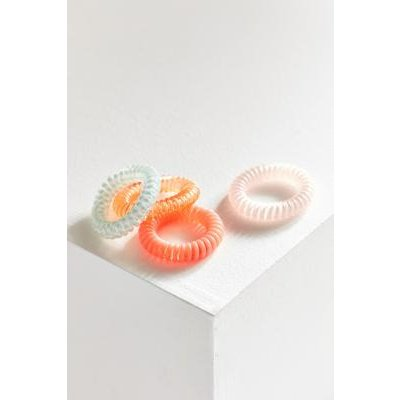 Telephone Cord Hair Tie Set 4-Pack, BLUE MULTI