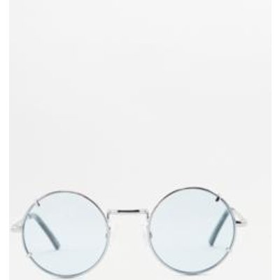 Round Metal Clip Sunglasses, BLUE