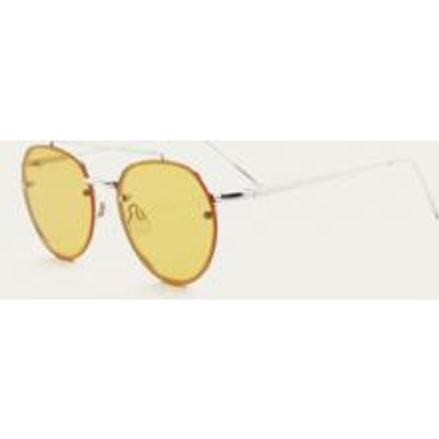 Small Rimless Aviator Sunglasses, YELLOW