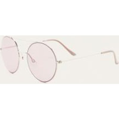 Round Top Brow Bar Sunglasses, PINK